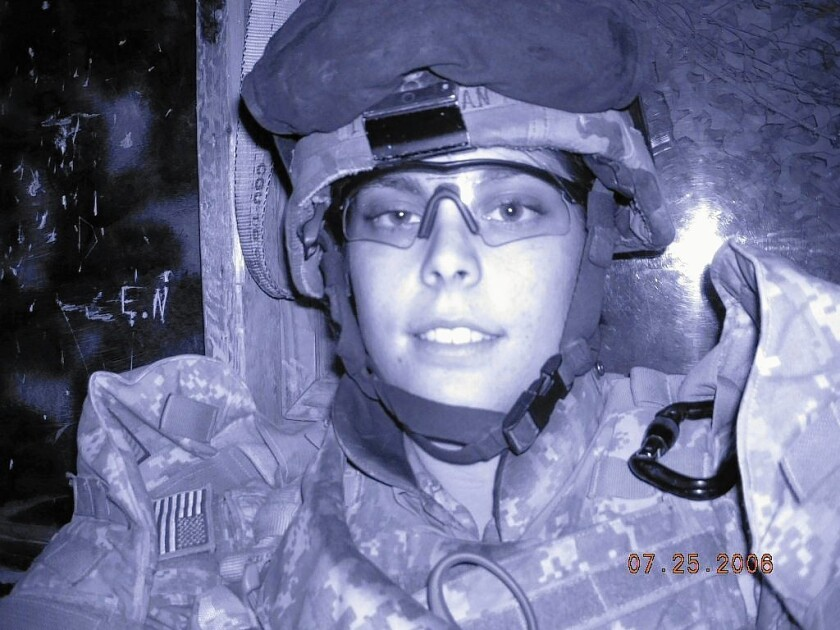 Sara Leatherman in Iraq in 2006. A back injury forced her to leave the military in 2009. She also suffered from post-traumatic stress disorder. Leatherman was 24 when she hanged herself in her grandmother's shower in 2010.