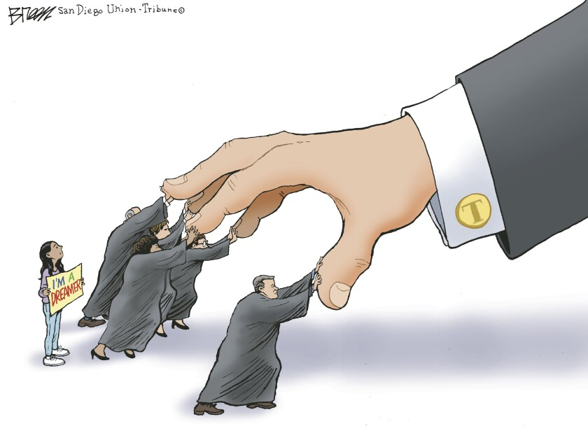 Five members of the Supreme Court push back on Trump's huge hand as it attempts to grab a Dreamer in this Steve Breen cartoon