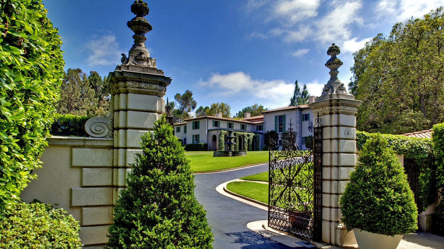The 10-acre property, which consists of three buildable parcels, features a 12,000-square-foot 1936 Tuscan-style mansion.