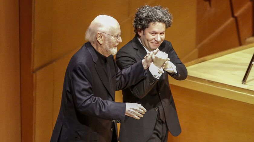 LOS ANGELES, CA, THURSDAY, JANUARY 24, 2019 - Composer John Williams is escorted to the stage by Gus