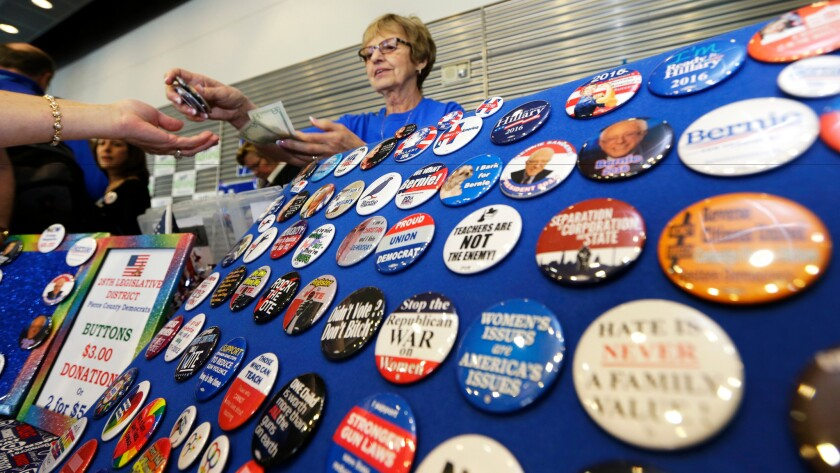 Campaign buttons for sale at the Washington state Democratic Convention in Tacoma last month.