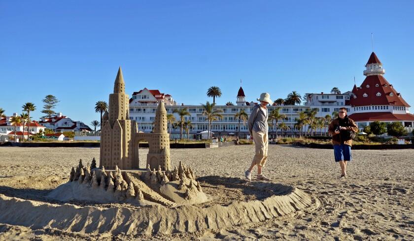 Coronado Beach in San Diego, with a sand castle and the Hotel del Coronado.