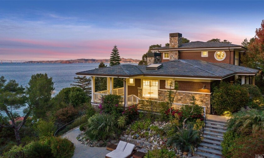 Built in 2008, the two-story home enjoys views of San Francisco Bay from a series of patios, balconies and verandas.