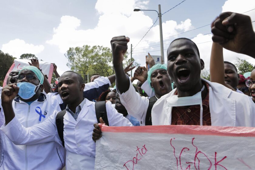 Striking Kenyan doctors and health workers protest in the Kenyan capital, Nairobi, in December.