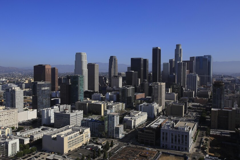 The downtown L.A. skyline as seen Monday from the rooftop helipad of the AT&T Tower building at Olive and 11th streets.
