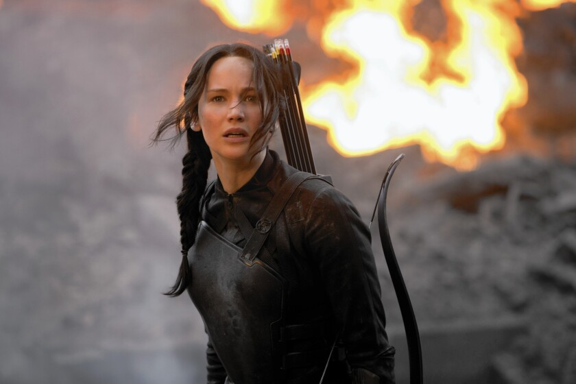 """Jennifer Lawrence plays Katniss Everdeen in """"The Hunger Games"""" movies."""