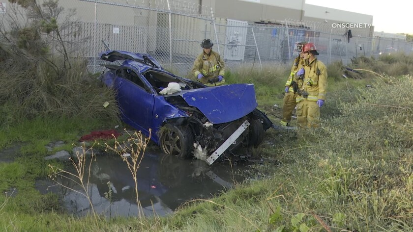 A body was found after a wrecked car was discovered in National City early Tuesday. Investigators believe it went off state Route 54 hours before it was spotted.