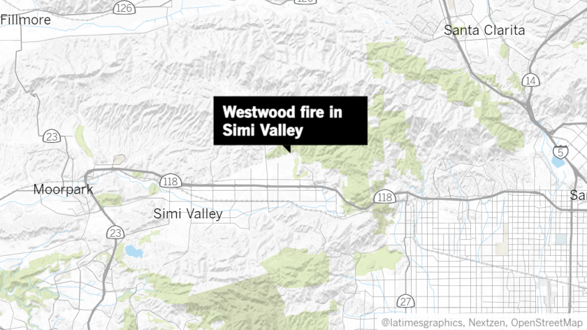 Map of the Westwood fire in Simi Valley