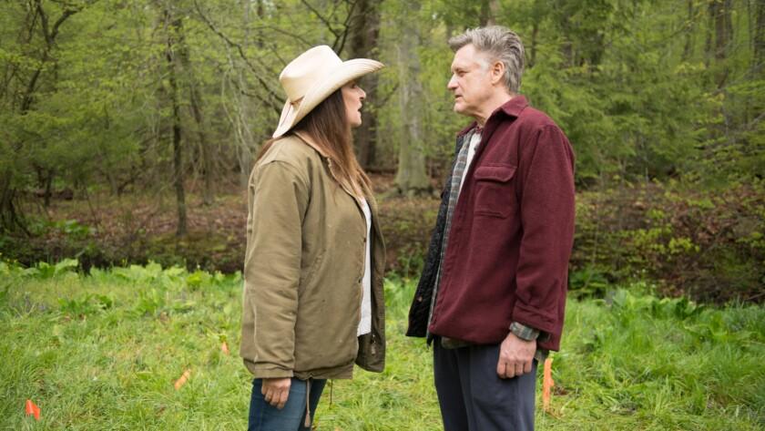"(L-R) - Anjelica Houston and Bill Pullman in a scene from ""Trouble."" Credit: AKOORIS/AKOORIS"