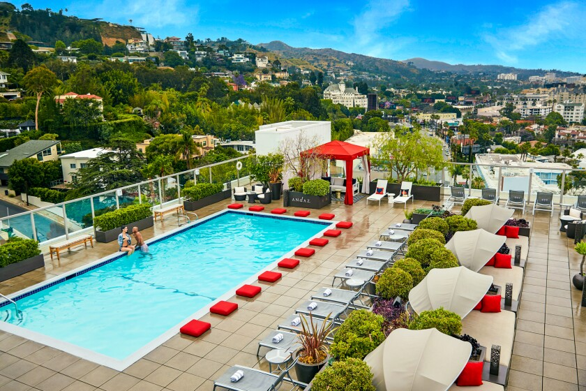 The rooftop pool at Andaz West Hollywood.
