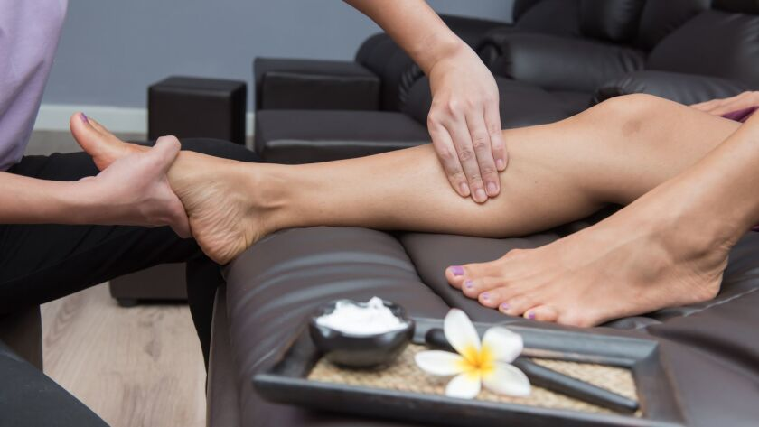 Spa and Thai foot massage, beautiful women relaxing and healthy of aromatherapy
