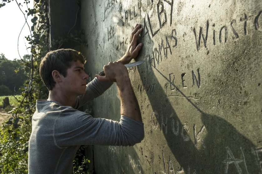 """In this image released by 20th Century Fox, Dylan O'Brien appears in a scene from """"The Maze Runner."""" (AP Photo/20th Century Fox, Ben Rothstein)"""