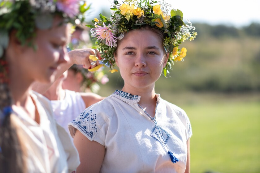 """Florence Pugh and the cast participate in the May Queen Dance in the film """"Midsommar."""""""