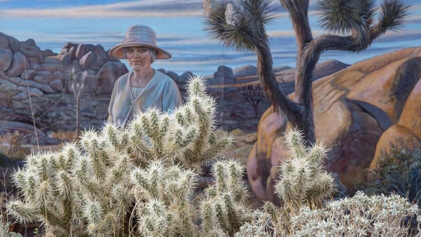 JOSHUA TREE NATIONAL PARK, CALIF. -- MONDAY, NOVEMBER 19, 2018: A mural featuring Minerva Hamilton