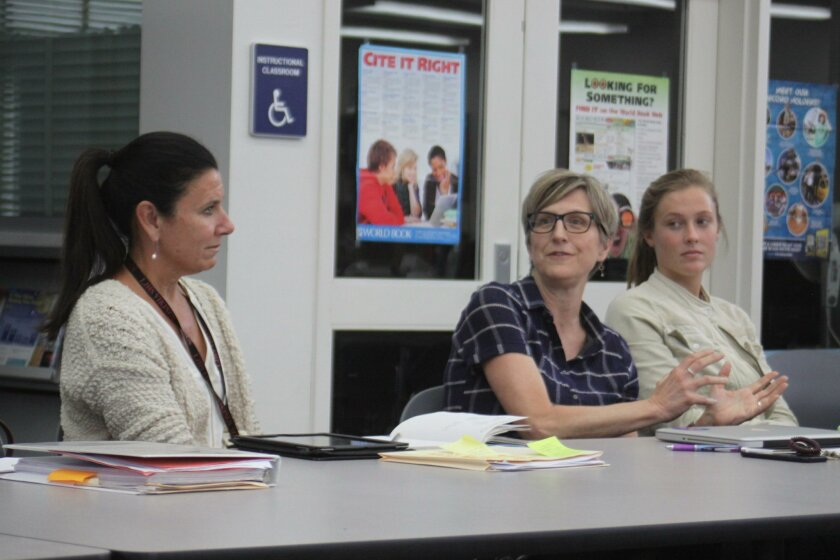 Muirlands Middle School teacher Julie Latta (center) shares her ideas for better communication, while Area Superintendent Mitzi Merino and La Jolla High School ASB President Claire Andrews listen.
