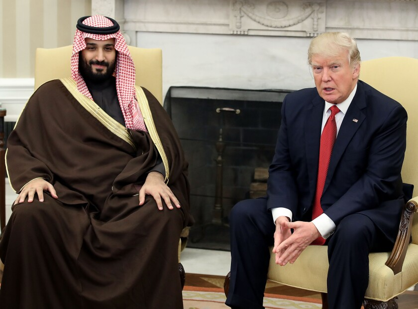 President Trump meets with Mohammed bin Salman, deputy crown prince and minister of defense of Saudi Arabia in the Oval Office last year.