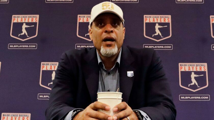 """Tony Clark, executive director of the Major League Baseball Players Assn., shown in 2017, said Wednesday that """"upwards of about 30"""" free-agent players were attending a training camp set up by the players' union."""