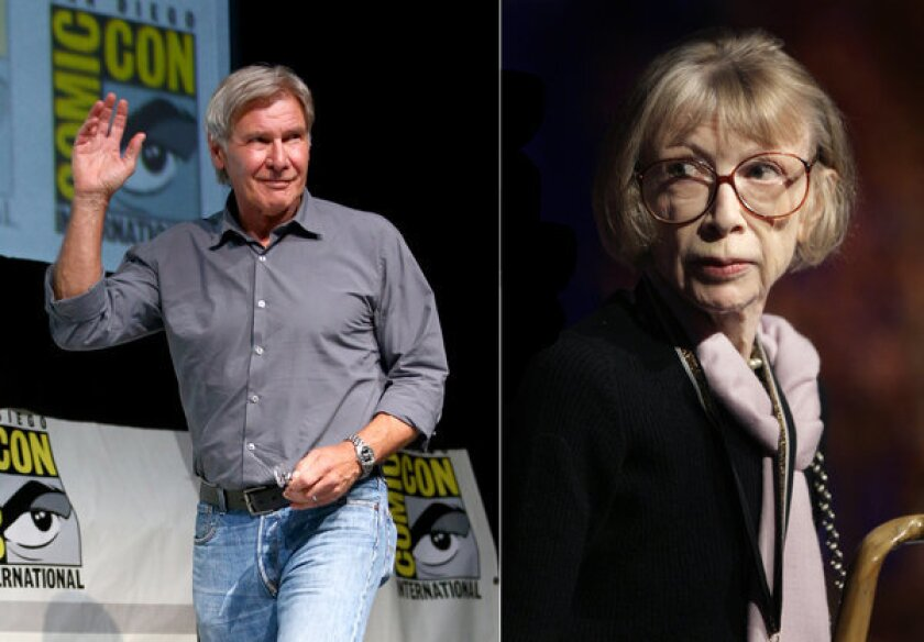Harrison Ford, photographed at Comic-Con, will present Joan Didion with a lifetime achievement award at a PEN Center USA event in October.