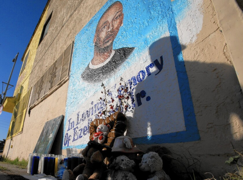 A memorial to Ezell Ford near the site of his shooting in south Los Angeles.