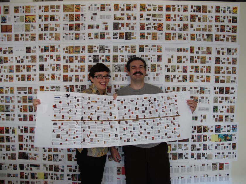 The final layouts of 75 Years of DC Comics, editor Nina Wiener and art director Josh Baker, 2010. Cr