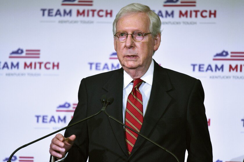 Senate Majority Leader Mitch McConnell, R-Ky., speaks to reporters during a press conference in Louisville, Ky., Wednesday, Nov. 4, 2020. McConnell secured a seventh term in Kentucky, fending off Democrat Amy McGrath. (AP Photo/Timothy D. Easley)