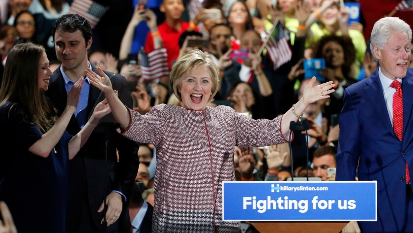 A victorious Hillary Clinton could still face a Congress controlled by Republicans, who have succeeded in blocking much of President Obama's major initiatives. Above, Clinton celebrates after winning the New York primary in April.