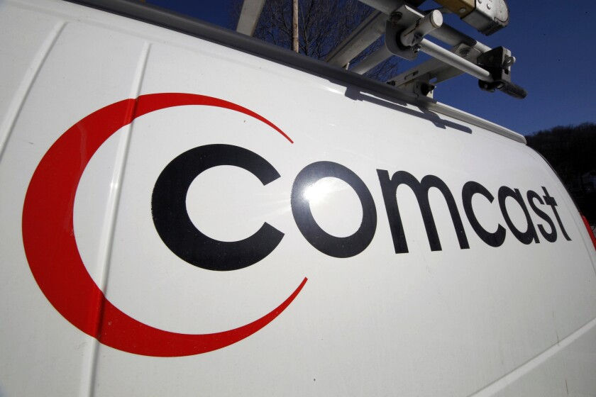 A Comcast logo on one of the company's vehicles in Pittsburgh.