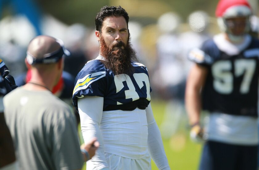 Chargers Eric Weddle photographed at first day of training camp Thursday.