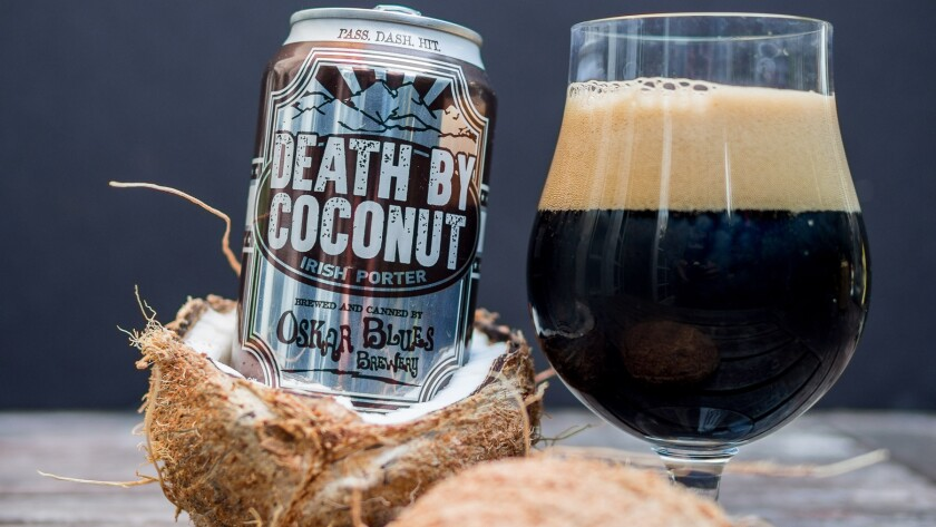The Oskar Blues Death by Coconut is one of the many coconut beer options to try for International Stout Day (the first Thursday in November).