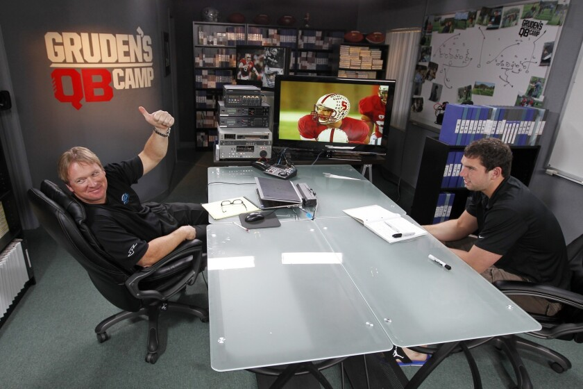 """ESPN's Jon Gruden, left, talks to then-Stanford quarterback Andrew Luck during a broadcast of """"Gruden's QB Camp."""""""