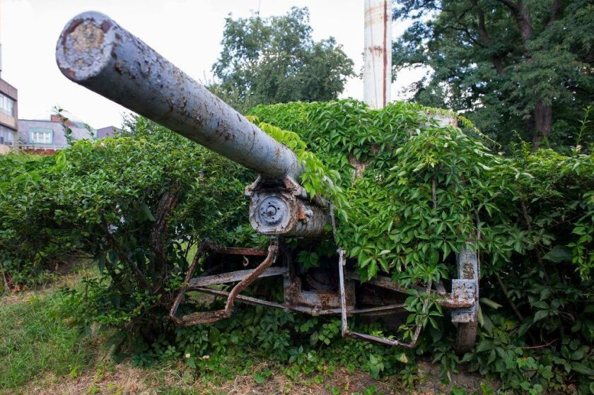 One of four antique weapons from World War I and the Civil War era, rusting, deteriorating and hidden by plant growth, sit on a hill known as Fort No. 8 on the campus of Bronx Community College,