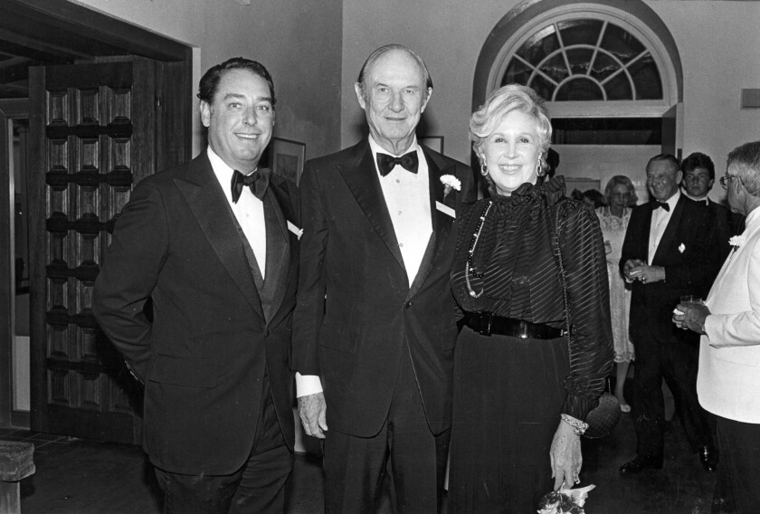 Trustee William Myron Keck II, left, is shown at a reception at Southwest Museum on July 18, 1984. Keck, the grandson of legendary wildcatter William Keck Sr. who helped lead two family philanthropies, has died at age 72.