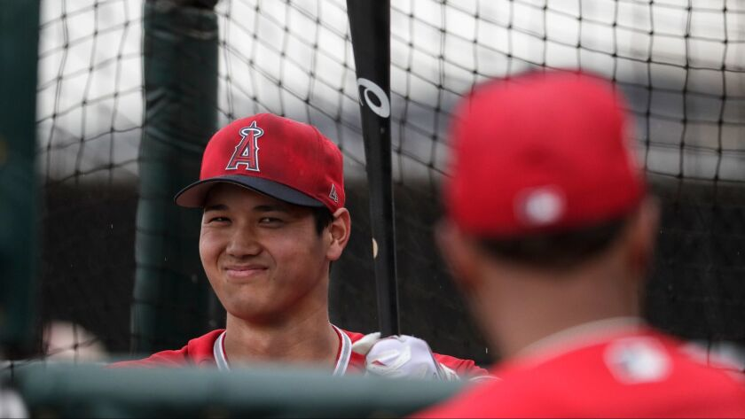 TEMPE, ARIZONA, WEDNESDAY, FEBRUARY 14, 2018 - Angels two-way player Shohei Ohtani is closely watche
