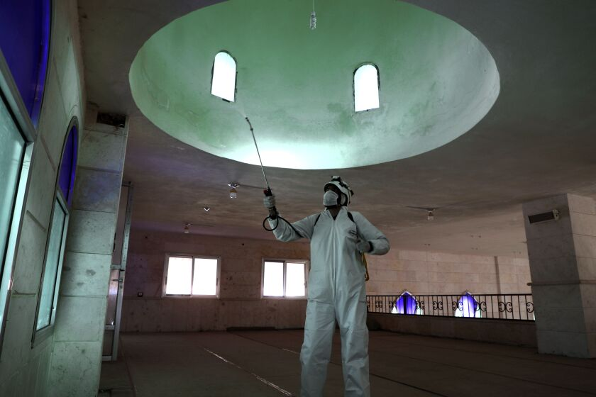 A member of the Syrian Civil Defense disinfects a mosque in Dana.