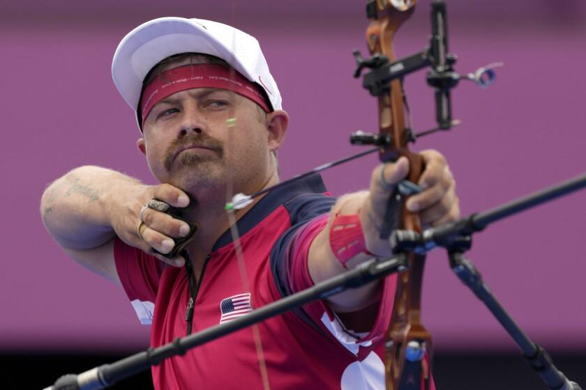 U.S. archer Brady Ellison shoots at the Tokyo Olympics.