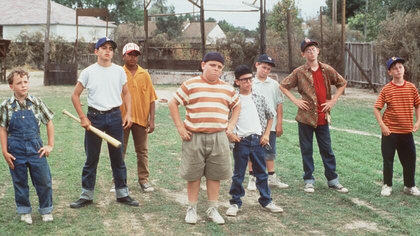 "Shane Obedzinski, left, Mike Vitar, Brandon Adams, Patrick Renna, Chauncey Leopardi, Victor DiMattia, Grant Gelt and Tom Guiry in the 1993 movie ""The Sandlot."""