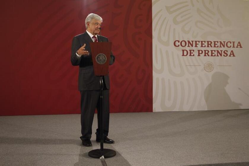 El presidente de México, Andrés Manuel López Obrador, ofrece una rueda de prensa, en el Salón Tesorería del Palacio Nacional, en Ciudad de México (México). EFE/Archivo