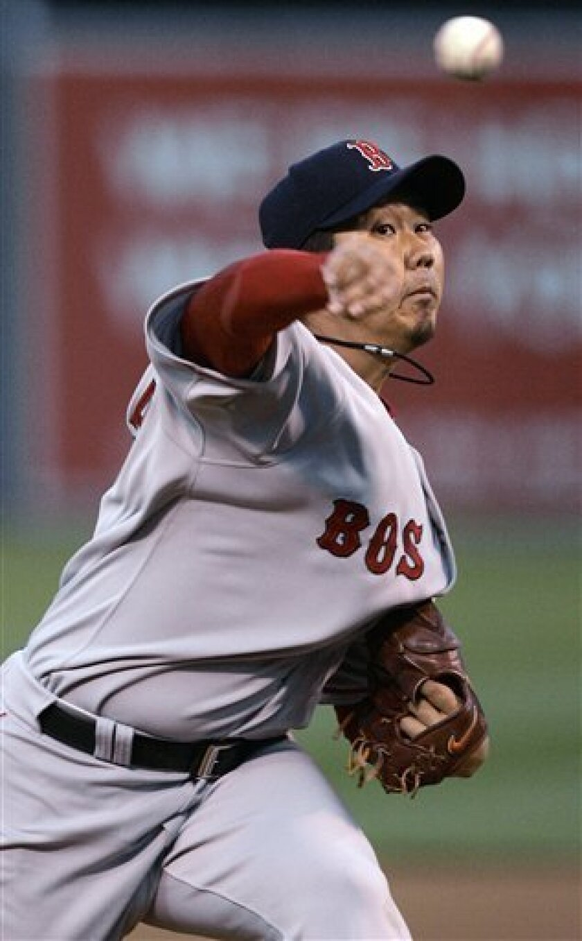 Boston Red Sox' Daisuke Matsuzaka, of Japan, works against the Oakland Athletics during the first inning of an MLB baseball game Tuesday, April 1, 2008, in Oakland, Calif. (AP Photo/Ben Margot)