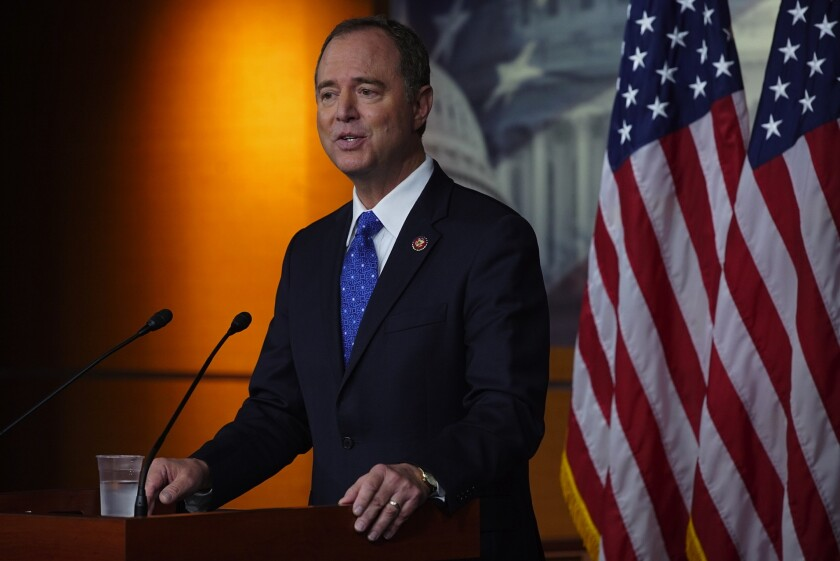Rep. Adam Schiff at a news conference on Capitol Hill.