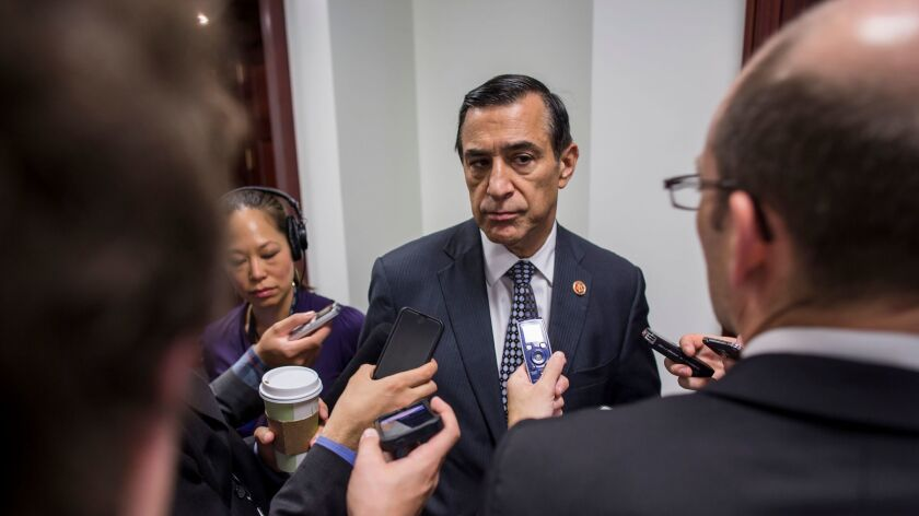 Rep. Darrell Issa with reporters after a meeting at The Capitol Building in Washington.