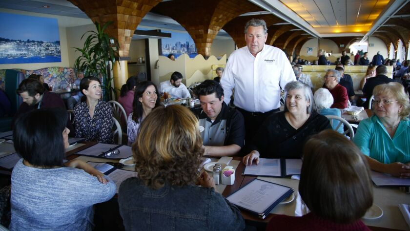 Craig Ghio greets guests at his Anthony's Fish Grotto restaurant on its final of operations on the downtown waterfront, Jan. 31.
