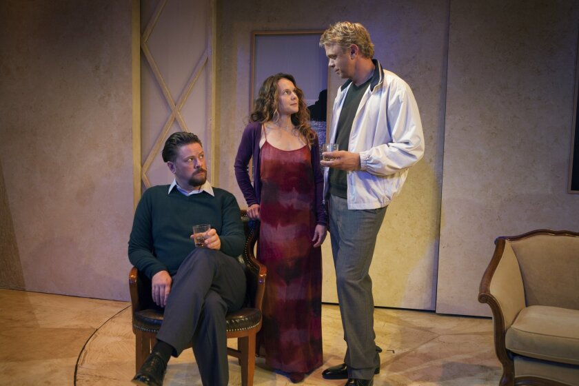 """Richard Baird, Carla Harting and Jeffrey Fracé (left to right) in North Coast Repertory Theatre's """"Betrayal."""""""