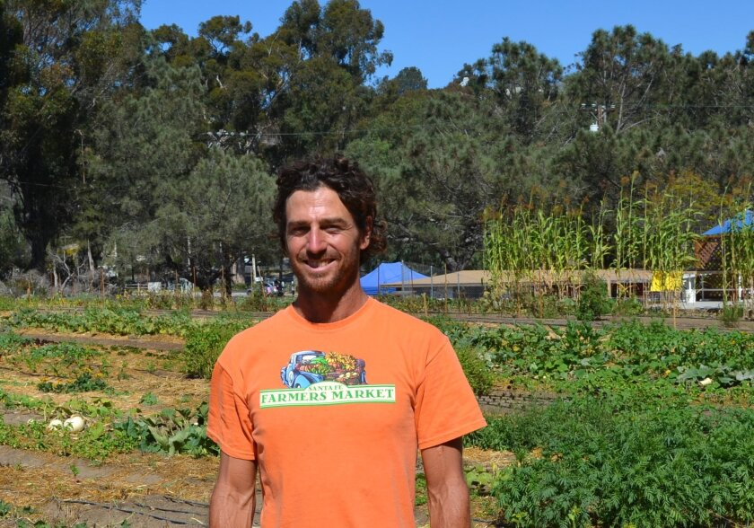"Ryan ""Farmer Leo"" Goldsmith at his farm at 1920 S. El Camino Real. He believes Encinitas is poised to see more small farms like his. Photo by Jared Whitlock"