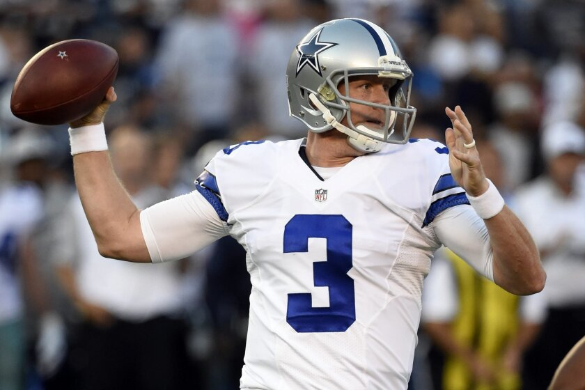 FILE - In this Aug. 13, 2015, file photo, Dallas Cowboys quarterback Brandon Weeden throws a pass while playing the San Diego Chargers in the first half of an NFL preseason football game in San Diego. Weeden flamed out as a high draft pick by the New York Yankees and as a first-round choice by the Cleveland Browns. Now he gets a chance to fill in for Tony Romo as quarterback of the Cowboys. (AP Photo/Denis Poroy, File)