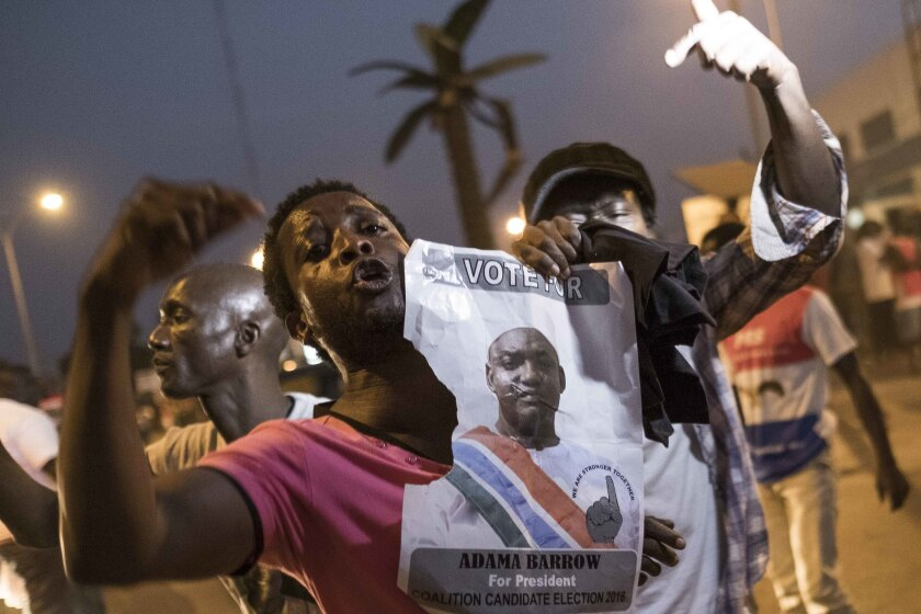 Gambians celebrate the inauguration of President Adama Barrow in the capital, Banjul.