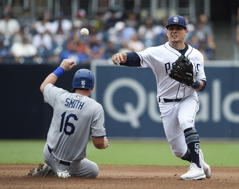 A big question for the Padres in 2020 is whether infielder Luis Urias, shown Thursday against the Dodgers, can become the second baseman they've envisioned.