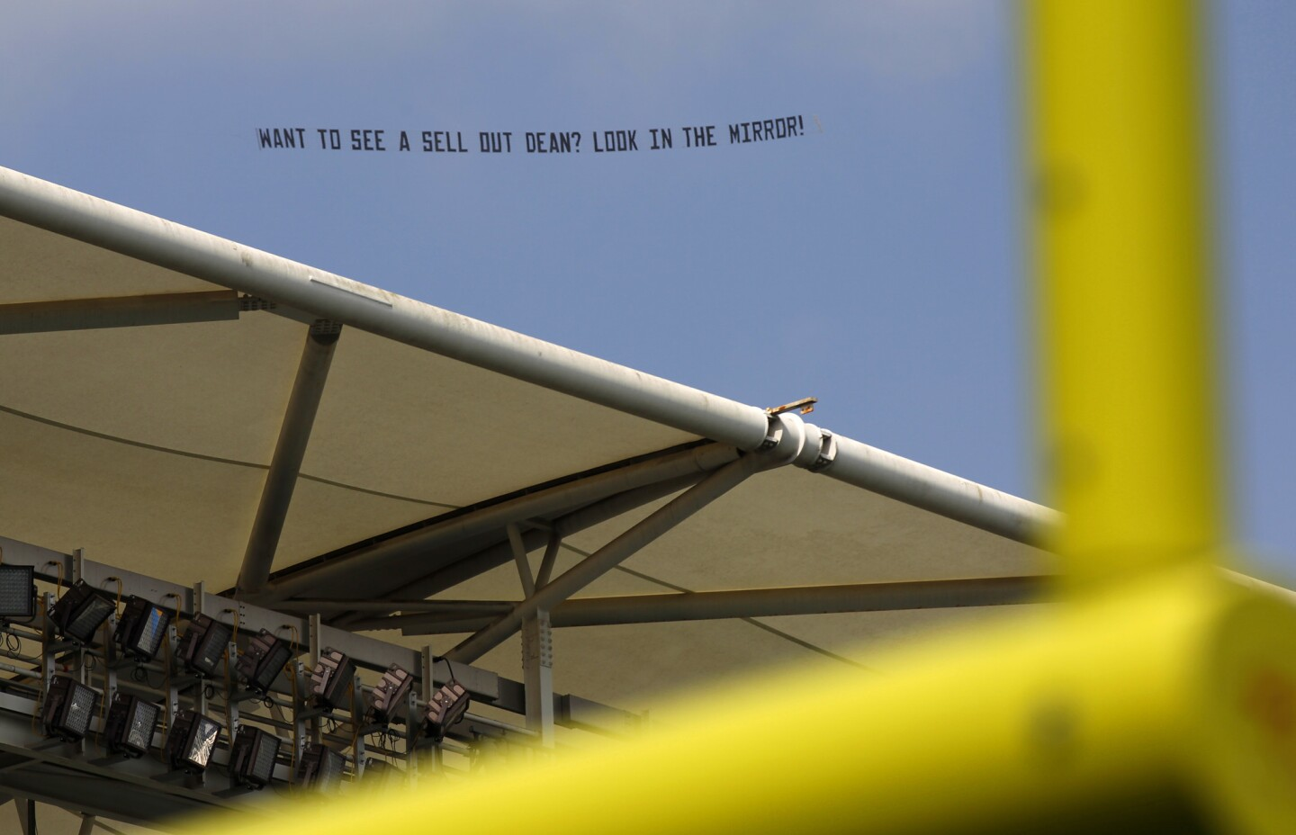A banner is flown over the StubHub Center referencing Los Angeles Chargers owner Dean Spanos before a game against Philadelphia Eagles in Carson on Oct. 1, 2017 (Photo by K.C. Alfred/The San Diego Union-Tribune)