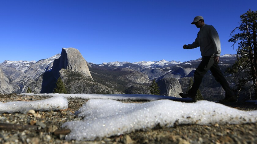 Patchy snow is all that's on the ground at Glacier Point in Yosemite National Park in January. The snow is normally much deeper at that time of year.