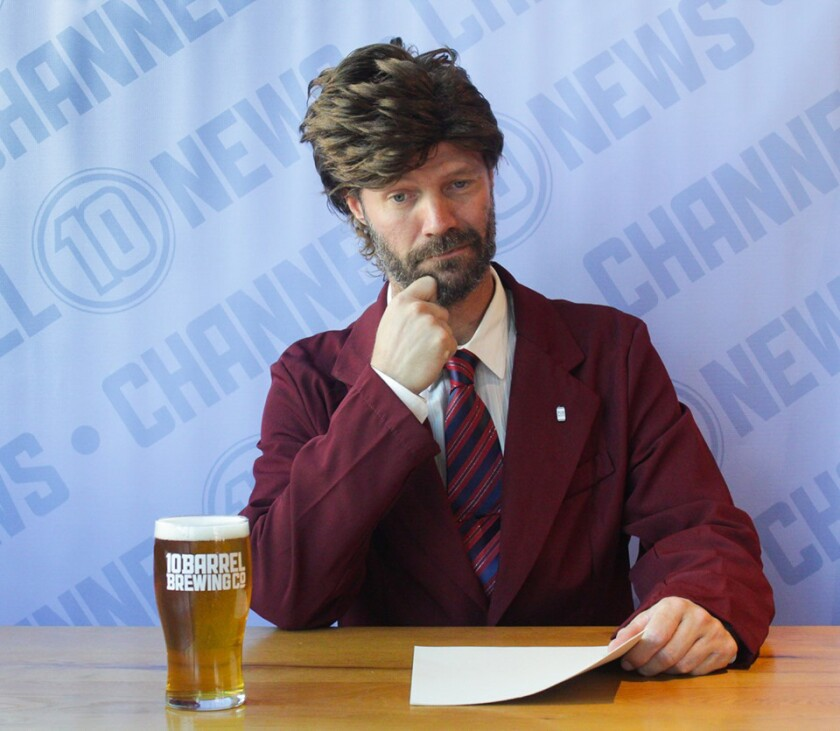 10 Barrel Brewing Co. brewmaster Ben Shirley as Ron Burgundy from Anchorman.