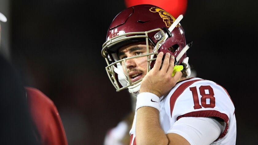 PALO ALTO, CALIFORNIA SEPTEMBER 8, 2018-USC quarterback J.T. Daniels against Stanford at Stanford S